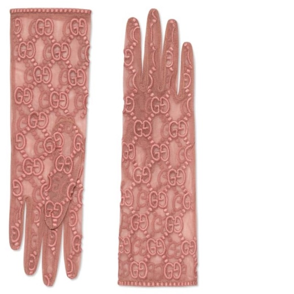c90f9fa6352 Gucci embroidered pink gloves GG. 💯 authentic